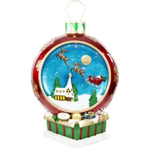 34.5 Inch Musical Santa and Flying Sleigh Ornament with Long-Lasting LED Lights