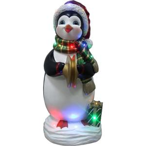 36 Inch Tall Penguin Playing the Cymbals Indoor/Outdoor Oversized Christmas Decor with Long-Lasting LED Lights