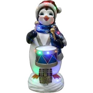 36 Inch Tall Penguin Playing the Drum with Long-Lasting LED Lights