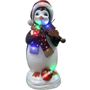 36 Inch Tall Penguin Playing the Fiddle with Long-Lasting LED Lights