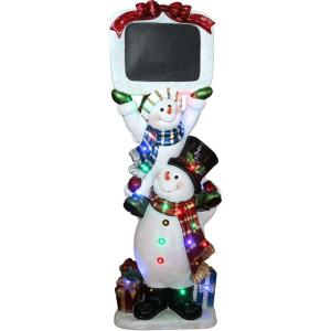 "60"" Indoor/Outdoor Oversized Christmas Decor with Long-Lasting LED Lights and Stacking Snowman Pair"