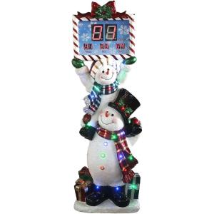 60 Inch. Stacking Snowman Pair with Musical Countdown Clock Indoor/Outdoor Oversized Christmas Decor with Long-Lasting LED Lights