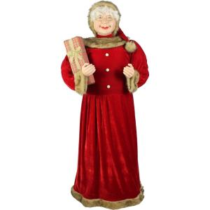 60 Inch Standing Mrs. Claus Holding Gift and Wearing Velvet Dress with Fur Trim