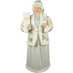 60 Inch Standing Mrs. Claus Holding a Gift and Wearing a Gold Brocade Jacket with Fur Trim