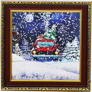 Let It Snow Series - 15 Inch Framed Shadowbox Featuring Car with Christmas Tree Scene, Cascading Snow, and Holiday Music