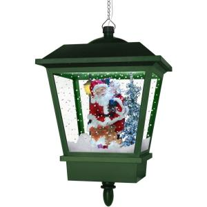 Let It Snow Series - 18 Inch Hanging Musical Lantern with Santa, Cascading Snow, and Christmas Carols