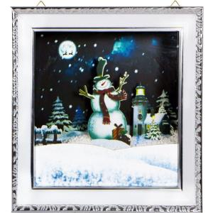 Let It Snow Series - 15 Inch Framed Shadowbox with Snowman Scene, Cascading Snow, and Holiday Music