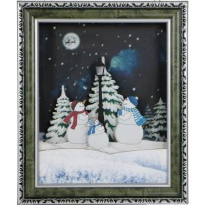 Let It Snow Series - 18 Inch Framed Shadowbox with Snow Family Scene, Cascading Snow, and Holiday Music