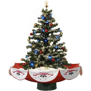 Let It Snow Series - 29 Inch Musical Christmas Tree with Umbrella Base and Snow Function