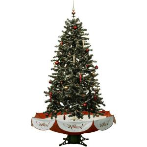 Let It Snow Series - 55 Inch Musical Christmas Tree with Umbrella Base and Snow Function