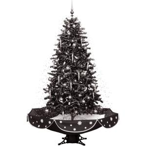 Let It Snow Series - 75 Inch Musical Christmas Tree with Umbrella Base and Snow Function