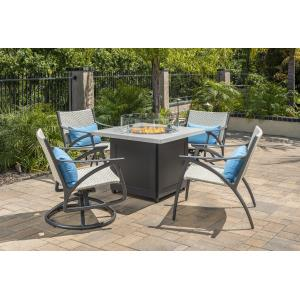 Amari Woven Swivel Rocking Lounge Chairs and Meridian Square Fire Table 5 Piece Set