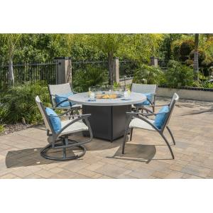 Amari Woven Swivel Rocking Lounge Chairs and Meridian Round Fire Table 5 Piece Set