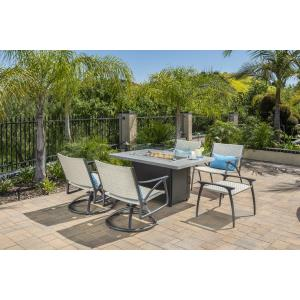 Amari Woven Lounge Chairs, Woven Ottoman and Meridian Rectangular Fire Table 6 Piece Set