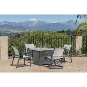 Echelon Sling Lounge Chairs and Meridian Square Fire Table  5 Piece Set