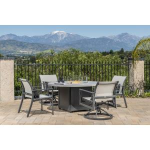 Echelon Sling Lounge Chairs and Meridian Round Fire Table  5 Piece Set