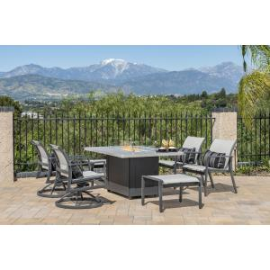 Echelon Sling Lounge Chairs, Sling Ottomans, and Meridian Rectangular Fire Table 7 Piece Set
