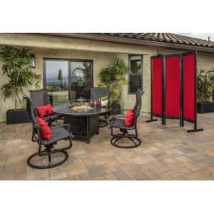 Grand Terrace Woven High Back Swivel Rocking Lounge Chairs and Grand Terrace Round Fire Table 5 Piece Set