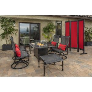 Grand Terrace Woven Lounge Chairs, Woven Ottomans, and Grand Terrace Rectangular Fire Table 7 Piece Set