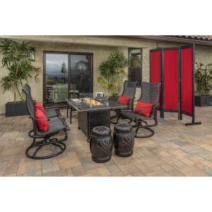 Grand Terrace Woven Lounge Chairs, Seatables, Ottoman and Grand Terrace Rectangular Fire Table 8 Piece Set