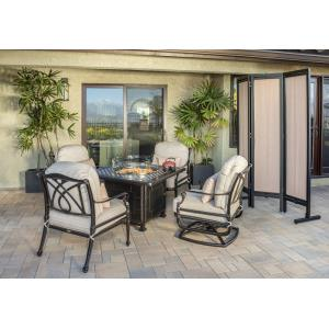 Grand Terrace Lounge Chairs and Grand Terrace Square Fire Table 5 Piece Set without Pillows