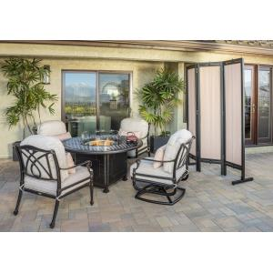 Grand Terrace Lounge Chairs and Grand Terrace Round Fire Table 5 Piece Set