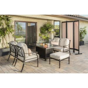 Grand Terrace Lounge Chairs, Loveseat, Ottoman, and Grand Terrace Rectangular Fire Table 5 Piece Set