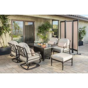 Grand Terrace Lounge Chairs, Ottoman, and Grand Terrace Rectangular Fire Table 6 Piece Set