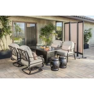 Grand Terrace Lounge Chairs, Seatables, and Grand Terrace Rectangular Fire Table 7 Piece Set
