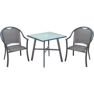 "Bambray - 3-Piece Commercial-Grade Patio Set with 2 Woven Dining Chairs and a 30"" Bistro Table"