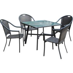 "Bambray - 5-Piece Commercial-Grade All-Weather Patio Set with 4 Woven Dining Chairs and a 38"" Dining Table"