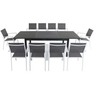 """Cameron - 94.4"""" 11- Piece Rectangle Expandable Dining Set with Sling Chair"""
