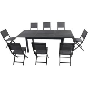 """Cameron - 94.4"""" 9- Piece Rectangle Expandable Dining Set with 8 Folding Sling Chair"""
