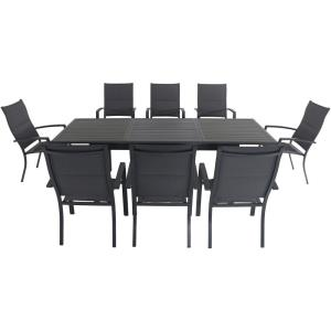 Cameron - 94.4 Inch 9- Piece Rectangle Expandable Dining Set with 8 High Back Padded Sling Chairs