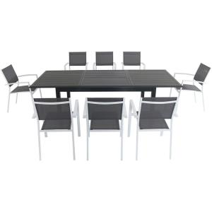 "Cameron - 94.4"" 9- Piece Rectangle Expandable Dining Set with 8 Dining Sling Chair"