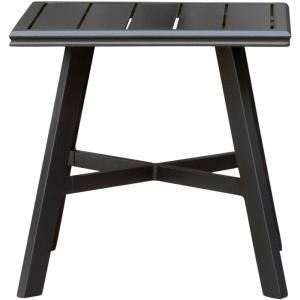 "22.2"" All-Weather Commercial-Grade Aluminum Square Slat-Top Side Table"