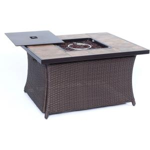 """Woven - 43.82"""" Coffee Table Fire Pit with Porcelain Tile Top and Lid"""