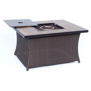 """Woven - 43.82"""" Coffee Table Fire Pit with Wood Grain Tile Top and Lid"""