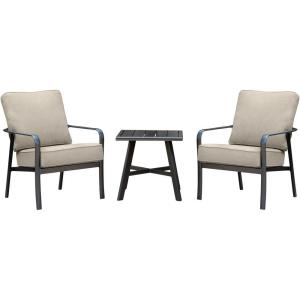 Cortino - 3-Piece Commercial-Grade Patio Seating Set with 2 Cushioned Club Chairs and a 22-In. Aluminum Slat-Top Side Table