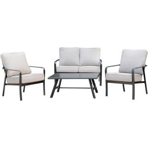 Cortino - 4-Piece Commercial-Grade Patio Seating Set with 2 Cushioned Club Chairs, Loveseat, and Slat-Top Coffee Table