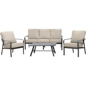 Cortino - 4-Piece Commercial-Grade Patio Seating Set with 2 Cushioned Club Chairs, Sofa, and Slat-Top Coffee Table