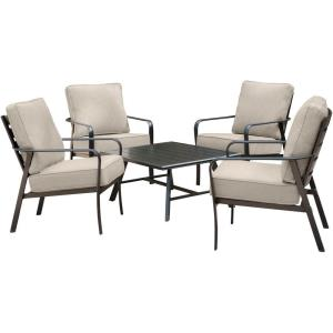 Cortino - 5-Piece Commercial-Grade Patio Seating Set with 4 Cushioned Club Chairs and an Aluminum Slat-Top Coffee Table