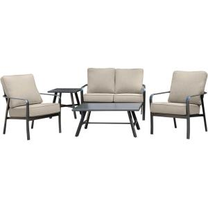 Cortino - 5-Piece Commercial-Grade Patio Seating Set with 2 Cushioned Club Chairs, Loveseat, and Slat-Top Coffee and Side Table