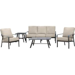 Cortino - 5-Piece Commercial-Grade Patio Seating Set with 2 Cushioned Club Chairs, Sofa, and Slat-Top Coffee and Side Table