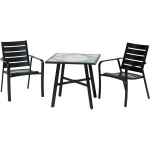 """Cortino - 3-Piece Commercial-Grade Bistro Set with 2 Aluminum Slat-Back Dining Chairs and a 30"""" Table"""