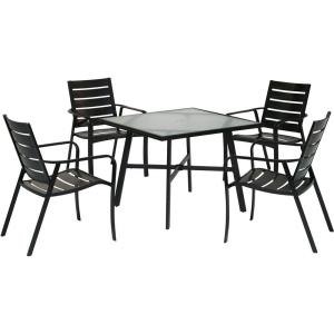 """Cortino - 5-Piece Commercial-Grade Patio Dining Set with 4 Aluminum Slat-Back Dining Chairs and a 38"""" Table"""