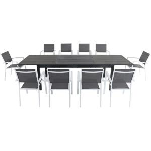 Dawson - 118 Inch 11 Piece Rectangle Dining Set with 10 Sling Chairs