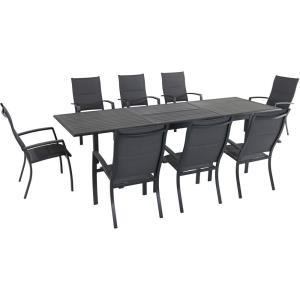 Dawson - 118 Inch 9 Piece Rectangle Dining Set with 8 High Back Padded Sling Folding Chairs