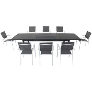 Dawson - 118 Inch 9 Piece Rectangle Dining Set with 8 Sling Chairs