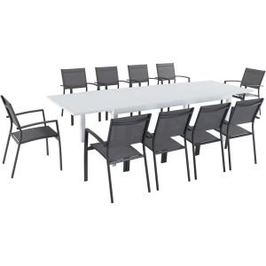 Del Mar - 118 Inch 11 Piece Outdoor Rectangle Dining Set with 10 Sling Chairs